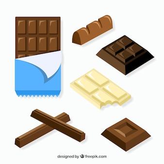 Zestaw barów i sztuk z różnymi czekoladkami