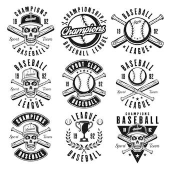 Zestaw baseballowy wektorów czarnych emblematów lub nadruków t shirt do projektowania odzieży na białym tle