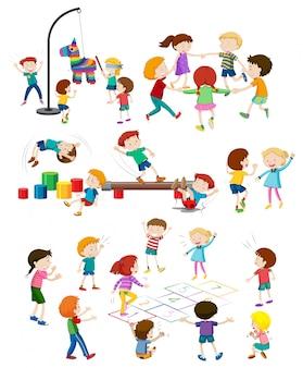 Zestaw bawiących się dzieci