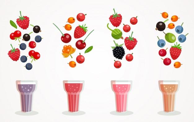 Zestaw berry smoothies