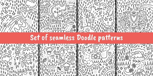 Zestaw bez szwu deseni wektorowych w stylu doodle