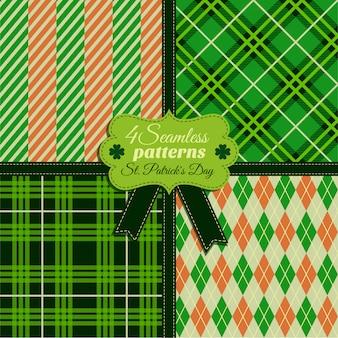 Zestaw bez szwu moda wzór og zielone kolory w różnych teksturach. obchody dnia świętego patryka.