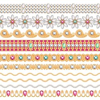 Zestaw bez szwu poziome granice kolorowe kamienie szlachetne. etniczny styl indyjski. łańcuch bransoletka naszyjnik biżuteria.