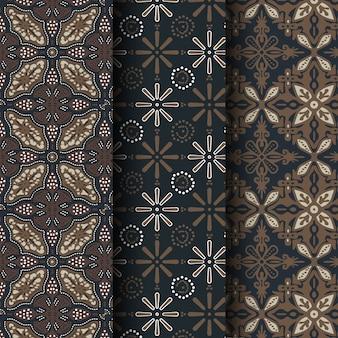 Zestaw bez szwu tradycyjnego indonezyjskiego batiku