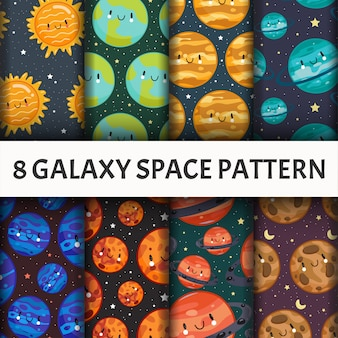 Zestaw bez szwu wzór galaxy.