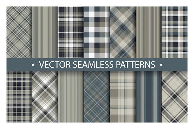 Zestaw bez szwu wzór kratki. tartan wzory tekstury tkaniny. geometryczny wzór w kratkę.