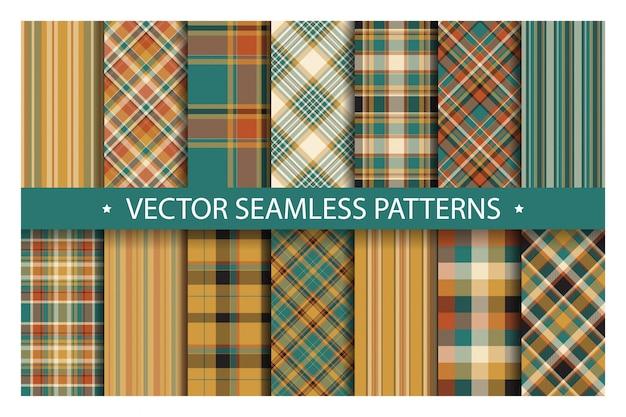 Zestaw bez szwu wzór kratki. tartan wzory tekstury tkaniny.