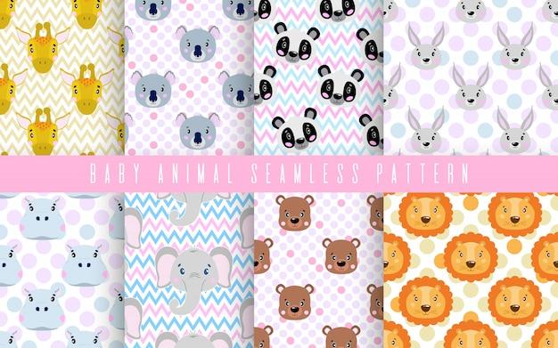 Zestaw bez szwu wzór ładny kolor dziecka zwierząt. szczęśliwa kolekcja do druku na tkaninach.