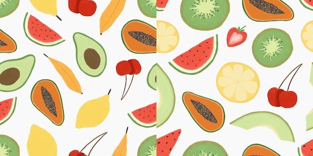 Zestaw bez szwu wzór ręcznie rysowane owoców ilustracja premium wektorów