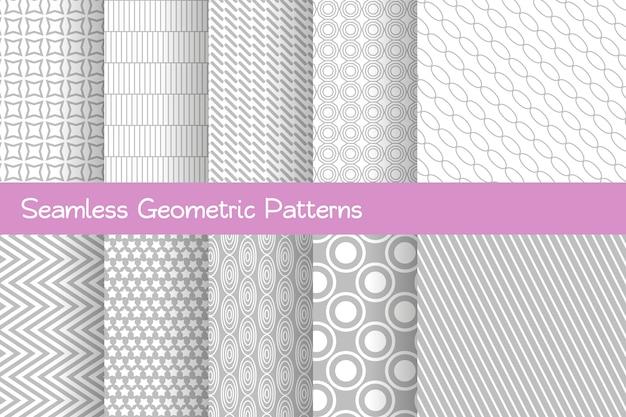 Zestaw bez szwu wzorów geometrycznych jasnoszare paski