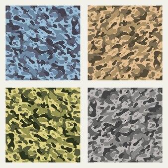 Zestaw bez szwu wzorów kamuflażu tkaniny
