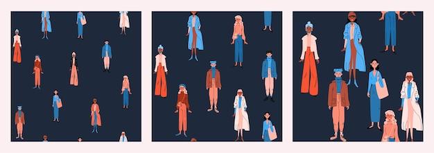 Zestaw bez szwu wzorów kobiet w jasne ubranie