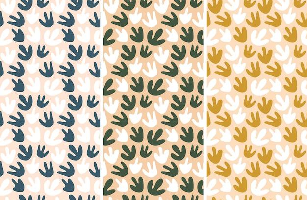Zestaw bez szwu wzorów. kolorowe kształty o nieregularnym kształcie w abstrakcyjnym stylu. ilustracja wektorowa