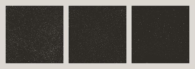 Zestaw bez szwu wzorów noc gwiaździste niebo. gwiazda przestrzeń wektor tła. kolekcja streszczenie czarne tekstury z białymi kropkami.