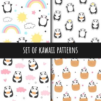 Zestaw bez szwu wzorów wektorowych w stylu kawaii