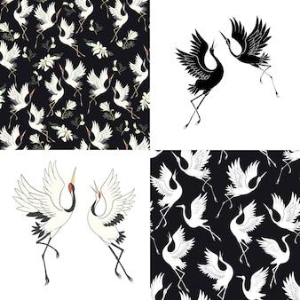 Zestaw bez szwu wzorów z japońskimi żurawiami