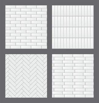 Zestaw bez szwu wzorów z nowoczesnymi prostokątnymi białymi płytkami. kolekcja realistycznych tekstur. ilustracja wektorowa.