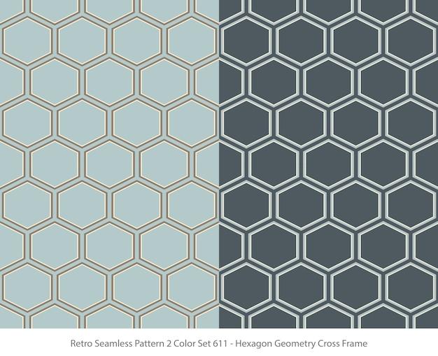 Zestaw bez szwu wzorów z ramą geometrii sześciokąt