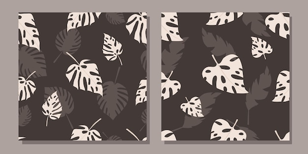 Zestaw bez szwu wzorów z tropikalnymi liśćmi