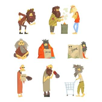 Zestaw bezdomnych, postacie w brudnych podartych ubraniach.
