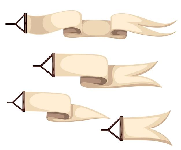 Zestaw beżowych wstążek. banery lotnicze dla samolotów i balonów na ogrzane powietrze. styl. ilustracja na białym tle