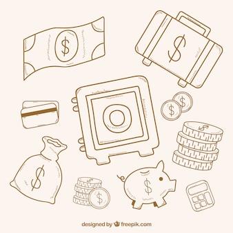 Zestaw bezpiecznych szkice elementów skrzynkowych i pieniądze