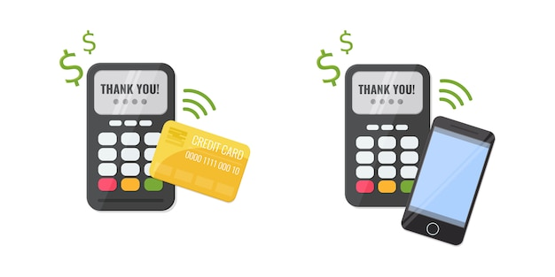 Zestaw bezprzewodowych metod płatności, bankowa karta kredytowa i smartfon. koncepcja płatności zbliżeniowych.