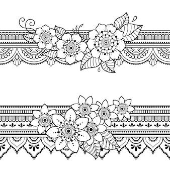 Zestaw bezszwowe granic wzór z kwiatem mehndi do rysowania henny i tatuażu. dekoracja w etnicznym orientalnym, indyjskim stylu. doodle ozdoba. zarys ręcznie rysować ilustracji wektorowych.