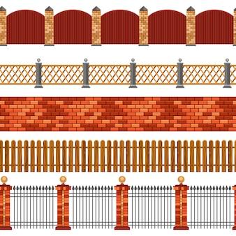 Zestaw bezszwowe granicy ogrodzenia