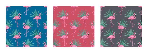 Zestaw bezszwowe wektor tropikalny wzór z różowymi flamingami