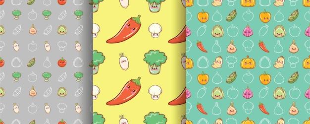 Zestaw bezszwowego wzoru słodkie warzywo postać z kreskówki