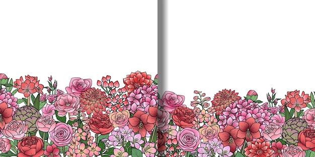 Zestaw bezszwowych granic kwiatów ogrodowych