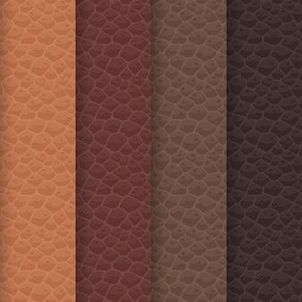 Zestaw bezszwowych tekstur skóry na bazie brązowej palety. odcienie wzoru są dopasowane do tradycyjnych kolorów karmelu, czekolady, kakao i kawy. realistyczna powierzchnia skóry zwierząt.