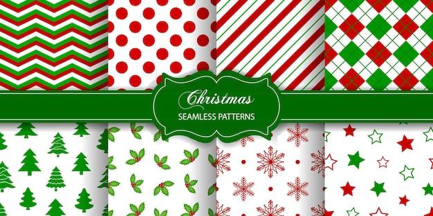 Zestaw bezszwowych tekstur świątecznych kolekcja wzorów świątecznych