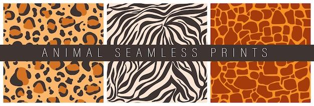 Zestaw bezszwowych wzorów dekoracyjnych nadruków zwierzęcych abstrakcyjna skóra lamparta żyrafy tygrysa