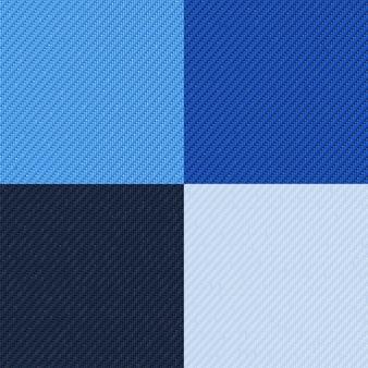 Zestaw bezszwowych wzorów dżinsów czarno-biała i niebieska dżinsowa tkanina