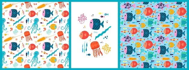 Zestaw bezszwowych wzorów i plakatów z tropikalnymi rybami morskimi