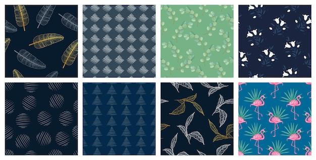 Zestaw bezszwowych wzorów modnych wzorów tekstylnych