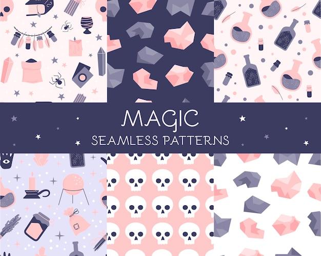 Zestaw bezszwowych wzorów z atrybutami magii i czarów na ciemnym i jasnym tle