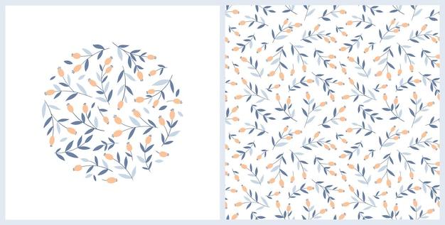 Zestaw bezszwowych wzorów z dzikiej róży i okrągłym nadrukiem z jagodami i liśćmi idealny do tekstyliów