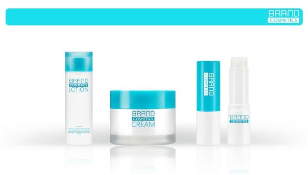 Zestaw białe plastikowe butelki do kremów kosmetycznych, balsamów, szamponów i żeli z niebieskimi nakrętkami