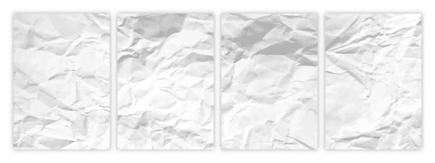 Zestaw białego papieru marszczonego w formacie a4. zmięte puste arkusze papieru z cieniem na plakaty i banery. ilustracja wektorowa