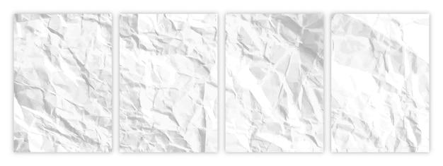Zestaw białego, pomarszczonego papieru w formacie a4. zmięte puste arkusze papieru z cieniem na plakaty i banery. ilustracja wektorowa