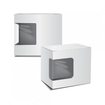 Zestaw białego pudełka kartonowe z tworzywa sztucznego z okienkiem.