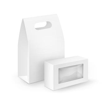 Zestaw białego pustego prostokąta kartonowego na wynos pudełka śniadaniowe opakowania na kanapki, jedzenie, prezent, inne produkty z plastikowymi oknami makiety z bliska na białym tle