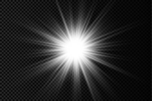 Zestaw białego świecącego światła burst blask jasnych gwiazd promienie słoneczne efekt świetlny rozbłysk słońca