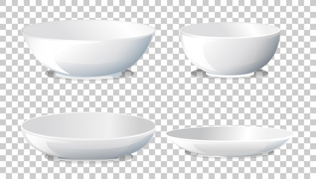 Zestaw białego zwykłego talerza widok z boku
