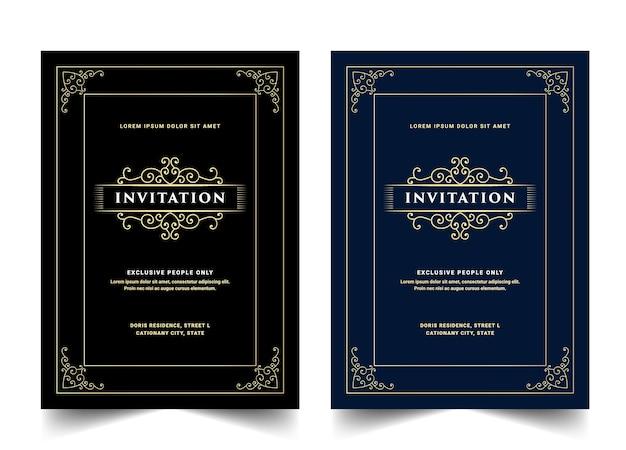 Zestaw białej, niebieskiej i czarnej luksusowej karty zaproszenie w stylu retro królewskiego antycznego złota