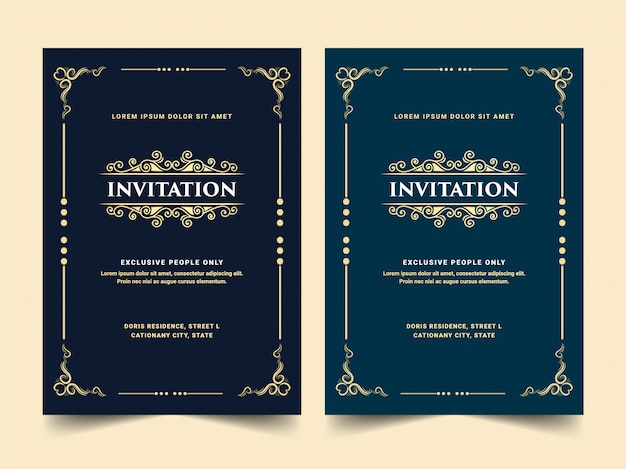 Zestaw białej niebiesko-czarnej luksusowej królewskiej antycznej złotej karty z zaproszeniem w stylu retro na wejście vip przepustka urodzinowa rocznica ślubu i uroczystość złote gotowe do druku