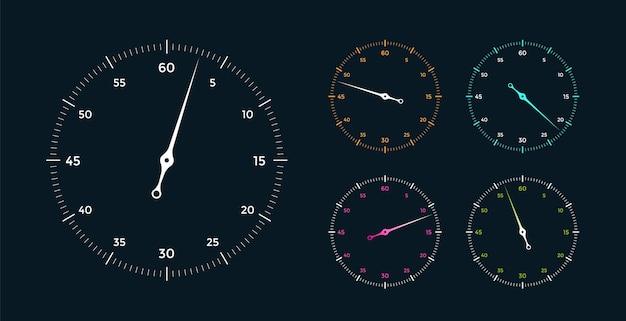 Zestaw białej tarczy zegara ze wskaźnikiem na czarnym tle
